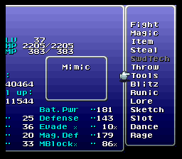 final fantasy vi advance gogo skill menu